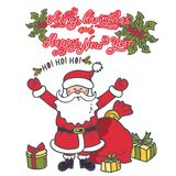 Santa Claus med hennes händer som lyfts i hälsning Illustrationhälsningkort med text royaltyfri illustrationer