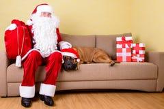 Santa Claus med hunden Royaltyfria Bilder