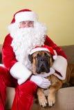 Santa Claus med hunden Fotografering för Bildbyråer