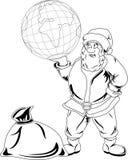 Santa Claus med jordklotet Royaltyfri Foto