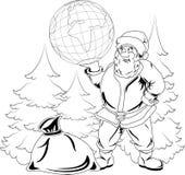 Santa Claus med jordklotet Arkivbilder