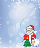 Santa Claus med lammet Arkivfoto