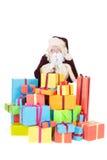 Santa Claus med presents Arkivbilder