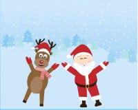 Santa Claus med renen Royaltyfri Fotografi