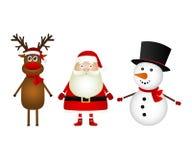 Santa Claus med renen och ett snögubbeanseende på en vit baksida royaltyfri bild