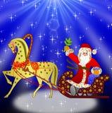 Santa Claus med säcken av gåvor Arkivbilder