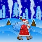 Santa Claus med säcken av gåvor Royaltyfria Bilder