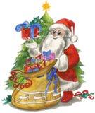Santa Claus med säcken och treen vektor illustrationer