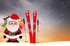 Santa Claus med skidar Arkivfoton