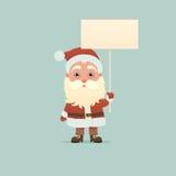 Santa Claus med skylten Arkivbilder