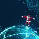 Santa Claus med snabb internet Royaltyfria Foton