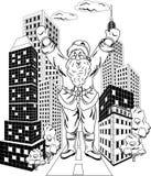 Santa Claus med staden Arkivfoto