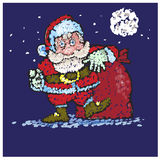 Santa Claus med stora påsar av gåvor går till dig Arkivbild