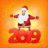 Santa Claus med symbolet av mallen 2019 för kort för hälsning för tecknad filmtecken royaltyfri illustrationer