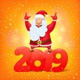 Santa Claus med symbolet av mallen 2019 för kort för hälsning för tecknad filmtecken stock illustrationer