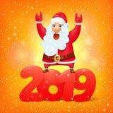 Santa Claus med symbolet av mallen 2019 för kort för hälsning för tecknad filmtecken vektor illustrationer