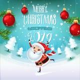 Santa Claus med symbolet av 2019 på skridskor rusar för ferie på fältet med julgranar royaltyfri illustrationer