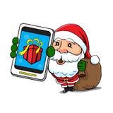 Santa Claus med telefonen och säcken Stock Illustrationer