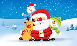Santa Claus med vänner Arkivfoto