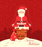 Santa Claus meditation on the chimney in the Christmas night. Merry christmas red christmas yoga card royalty free illustration