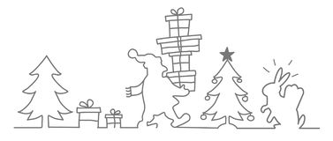Santa Claus Meets Easter Bunny - Continuous Line Drawing Stock Photo
