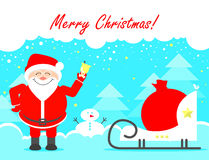 Santa Claus Merry Christmas Christmas greetings Vector illust Royalty Free Stock Image