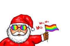 Santa Claus Merry Christmas Gay Pride Rainbow. Digital Illustration Drawing Of Gay Pride Santa Claus Stock Image