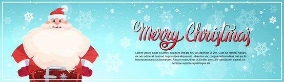 Santa Claus On Merry Christmas Greeting Card Holiday Horizontal Banner With Copy Space. Flat Vector Illustration Royalty Free Stock Image