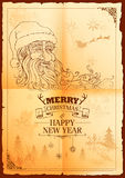 Santa Claus in Merry Christmas and Happy New Year banner Royalty Free Stock Photography