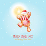 Santa Claus with Merry Christmas and happy New Year greeting card Stock Photo