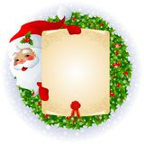 Santa Claus with message board vector illustration