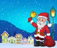 Santa Claus met beeld 3 van het klokthema Stock Afbeeldingen