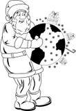 Santa Claus met bol Stock Foto