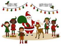 Santa Claus met elf en herten Kerstman Klaus, hemel, vorst, zak stock illustratie