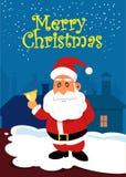 Santa Claus met gouden klok op het dak Kerstman Klaus, hemel, vorst, zak Stock Foto's