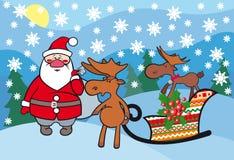 Santa Claus met grappige deers. Royalty-vrije Stock Fotografie