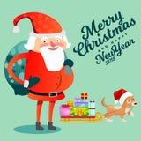 Santa Claus met krachtige zak van giften op zijn rug wenst iedereen met Kerstmis en gelukkig nieuw jaar, het puppy van de huisdie Stock Afbeeldingen