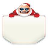 Santa Claus met Leeg Document Teken Stock Afbeelding