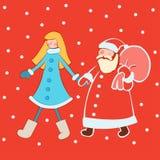 Santa Claus met sneeuwmeisje in heldere kleren stock afbeelding