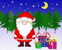 Santa Claus met stelt voor. Stock Foto