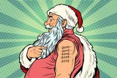 Santa Claus met tatoegeringen 2018 Vector Illustratie