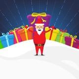 Santa Claus met van de Kerstmisviering van de Giftdoos de Vector van het de Lay-outontwerp stock illustratie