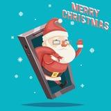 Santa Claus met van het Kerstmisnieuwjaar van de Giftzak van de de Kaart Mobiel Telefoon van Greating het Beeldverhaalontwerp Vec Royalty-vrije Stock Fotografie
