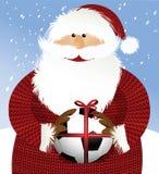 Santa Claus met voetbalbal stock illustratie