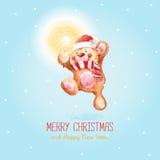 Santa Claus met Vrolijke Kerstmis en de gelukkige kaart van de Nieuwjaargroet Stock Foto