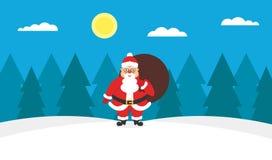 Santa Claus met zakgiften Modern vlak ontwerp Royalty-vrije Stock Foto