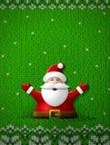 Santa Claus met zijn handen omhoog op gebreide achtergrond Stock Foto's