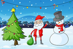 Santa Claus in the middle of the pine tree and the snowman Stock Image