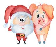 Santa Claus mignonne avec l'illustration porcine drôle d'aquarelle illustration libre de droits