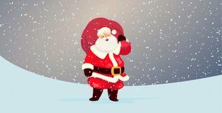 Santa Claus mignonne avec un sac plein des cadeaux Image libre de droits